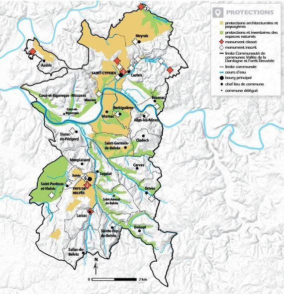 carte territoire vallée dordogne forêt bessède