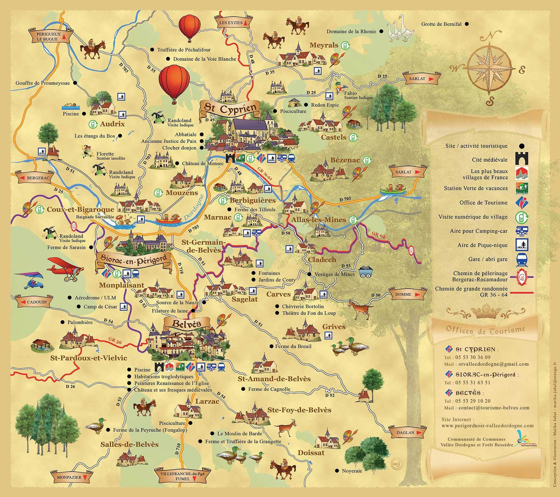 carte du territoire communautaire vallée dordogne forêt bessède